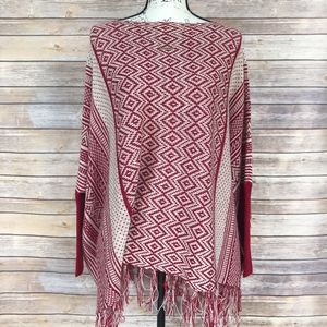 Active Red and Cream Frayed Hem Poncho M/L